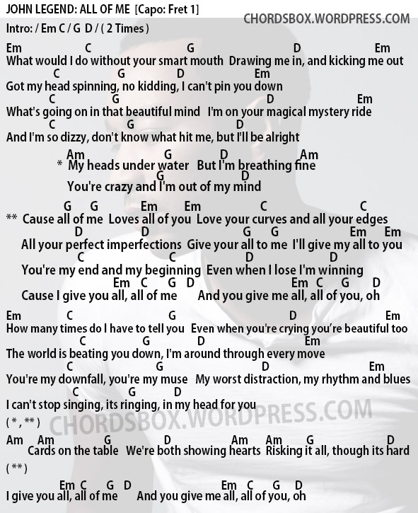 all of me chords - 591×725
