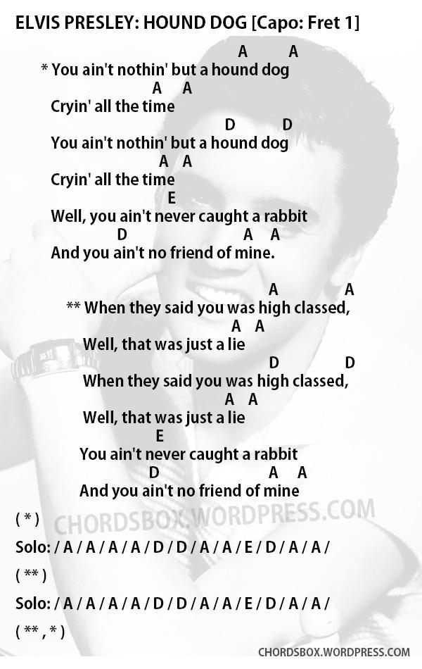 Chord Hound Dog Elvis Presley Chordsbox