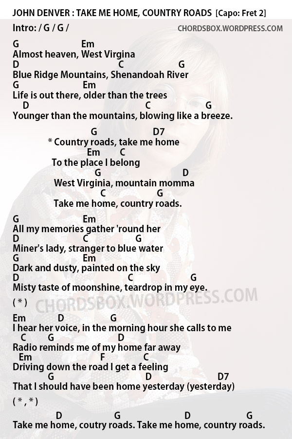Chord Take Me Home Country Roads John Denver Chordsbox