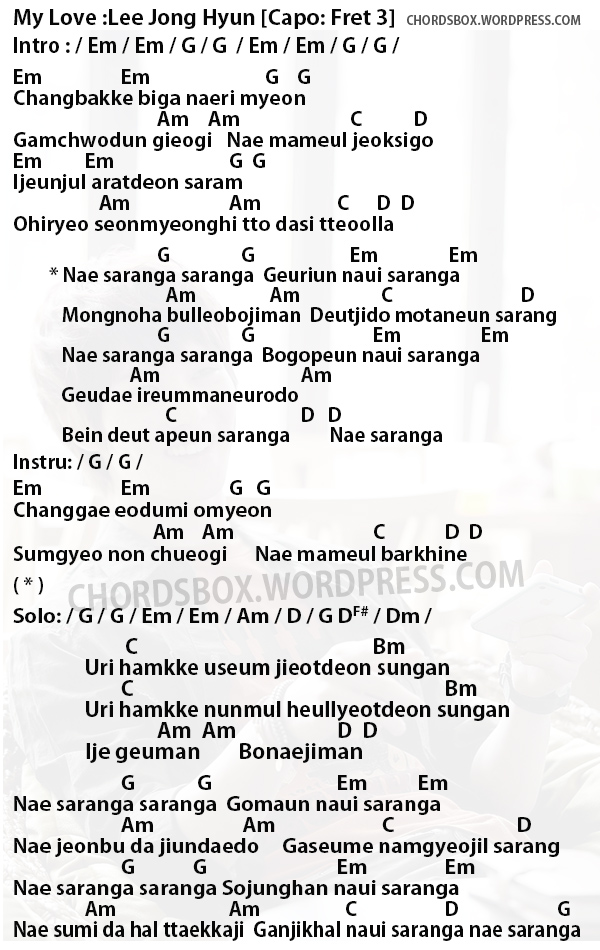 CHORD] MY LOVE | 내 사랑아 – LEE JONG HYUN (OST. A GENTLEMAN DIGNITY ...