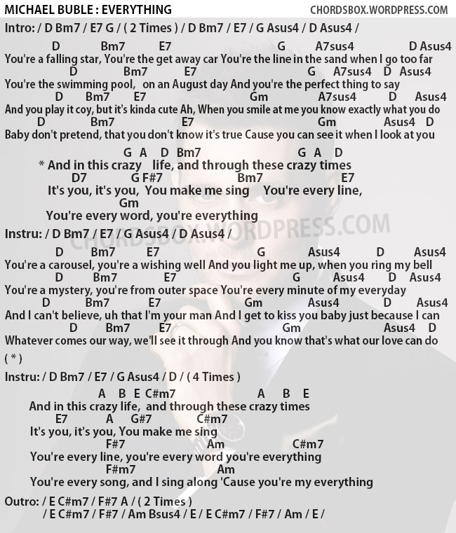 Chord Everything Michael Buble Chordsbox