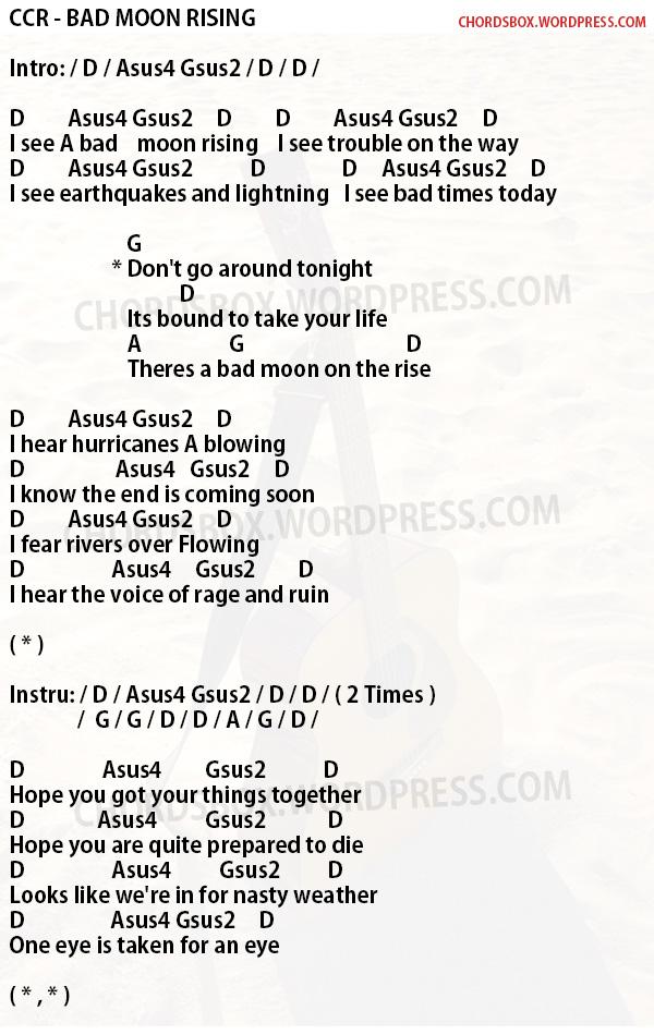Chord Ccr Bad Moon Rising Chordsbox