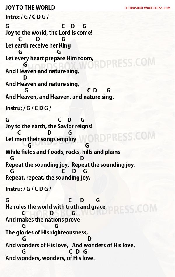 Chord Joy To The World Christmas Song Chordsbox