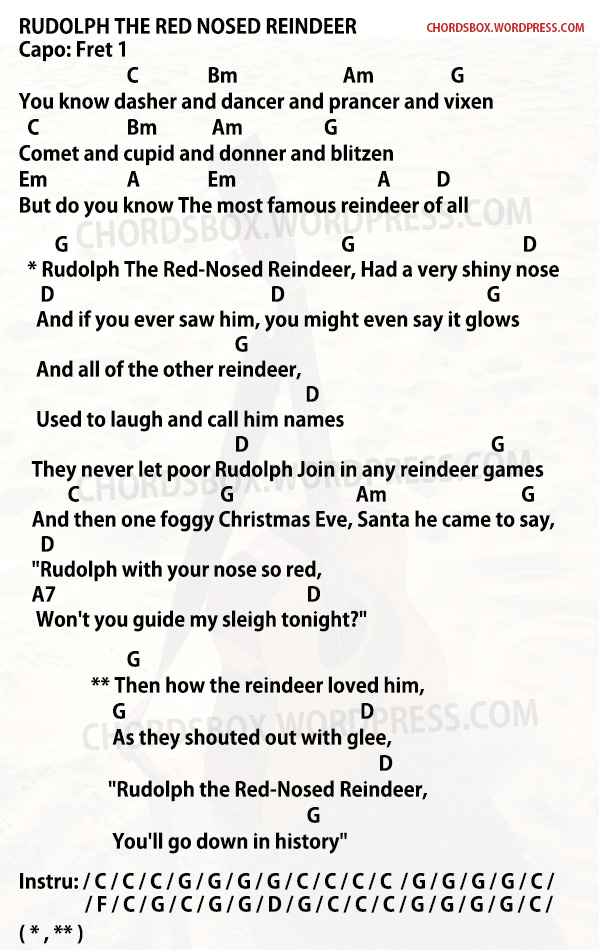 CHORD] RUDOLPH THE RED NOSED REINDEER – CHRISTMAS SONG – CHORDSBOX