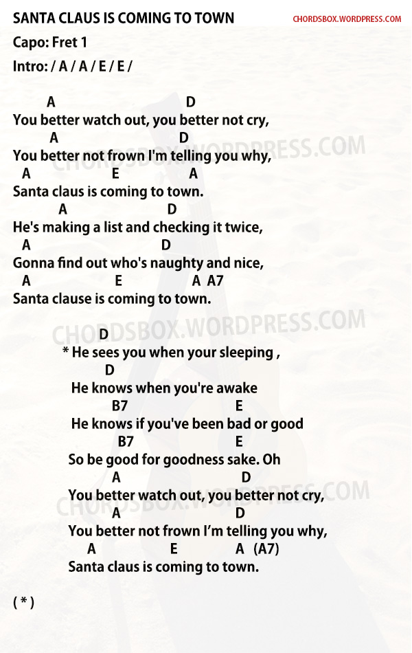 CHORD] SANTA CLAUS IS COMING TO TOWN – CHRISTMAS SONG – CHORDSBOX