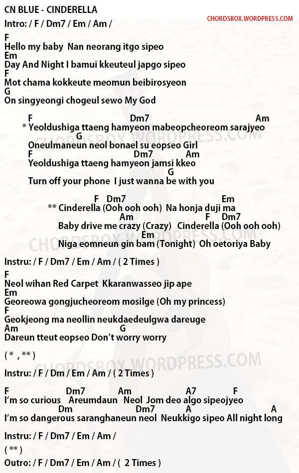 CHORD] CINDERELLA | 신데렐라 – CN BLUE – CHORDSBOX