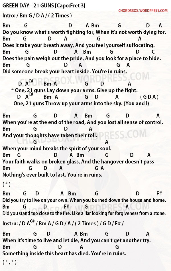 Guitar Chords For 21 Guns