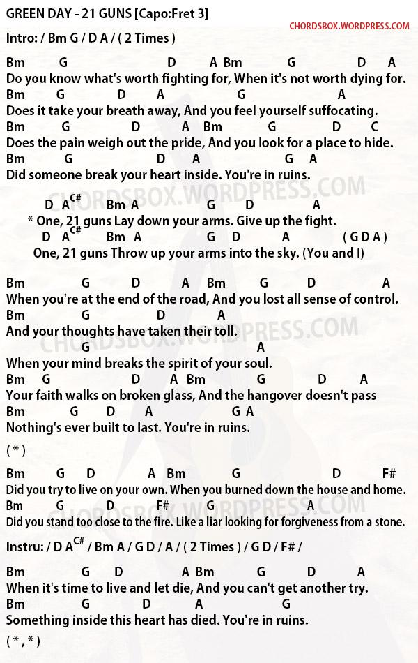 Chord 21 Guns Green Day Chordsbox
