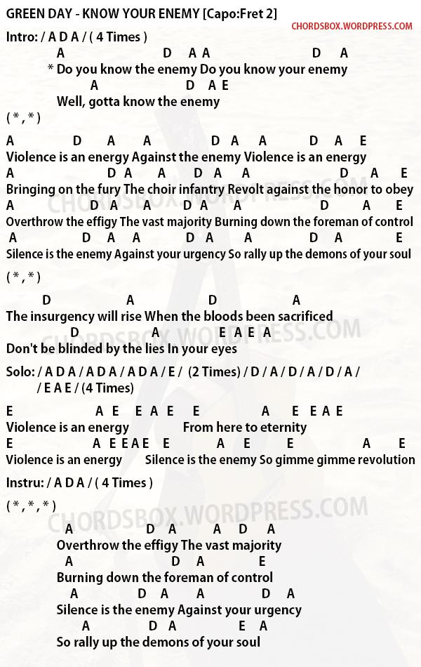 chord your enemy green day chordsbox