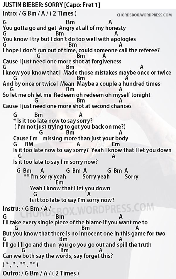Chord Sorry Justin Bieber Chordsbox