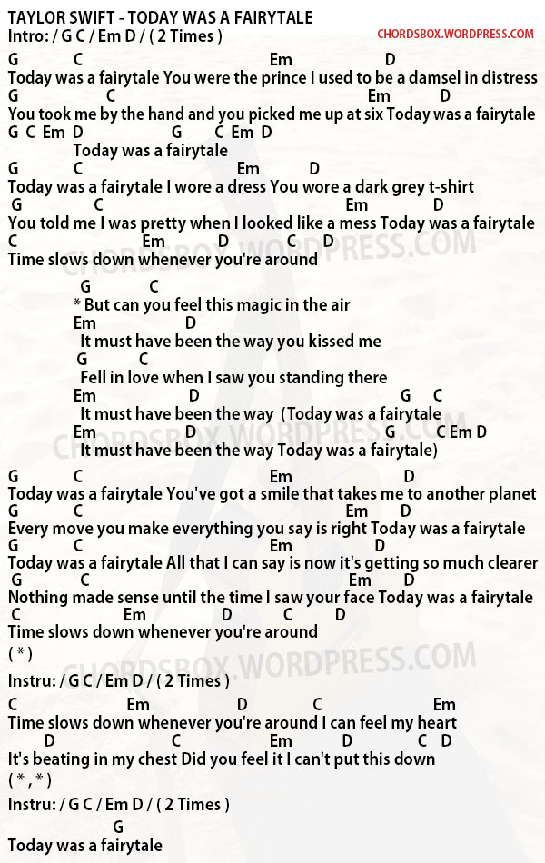 Chord Today Was A Fairytale Taylor Swift Chordsbox