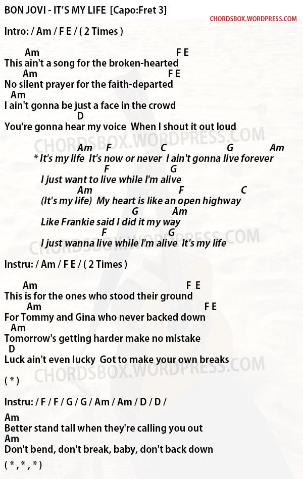 Chord Its My Life Bon Jovi Chordsbox