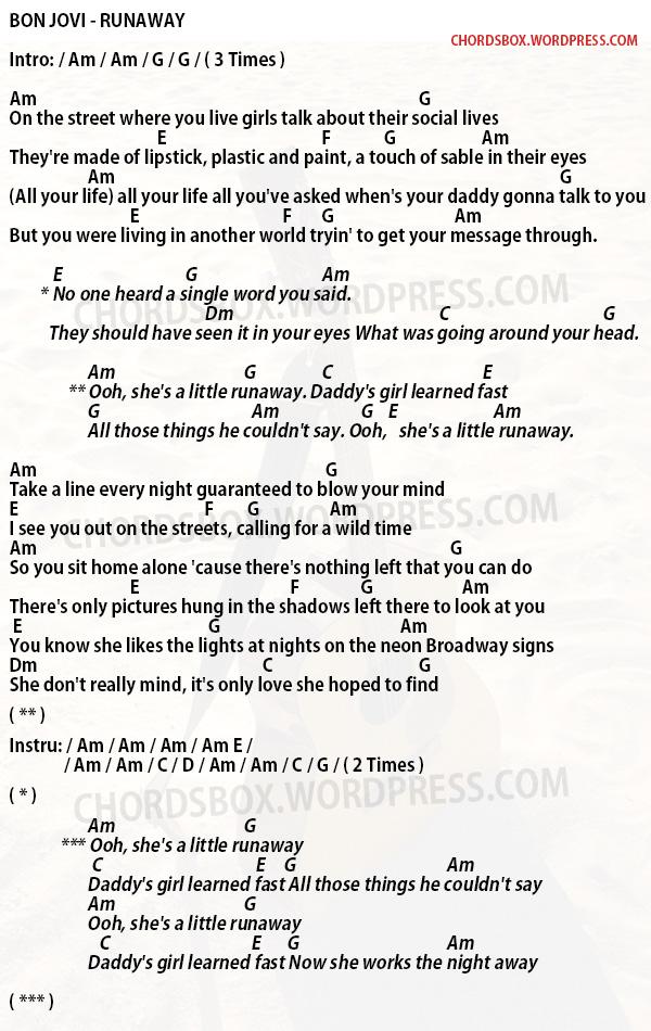 Chord Runaway Bon Jovi Chordsbox