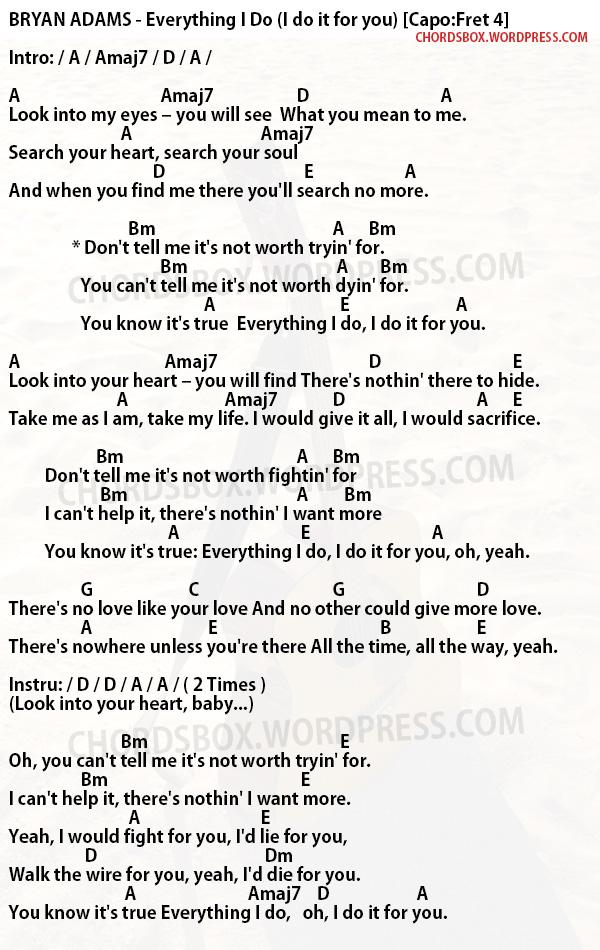 Chord Everything I Do Bryan Adams Chordsbox