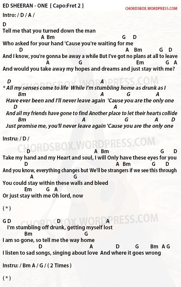 Chord One Ed Sheeran Chordsbox