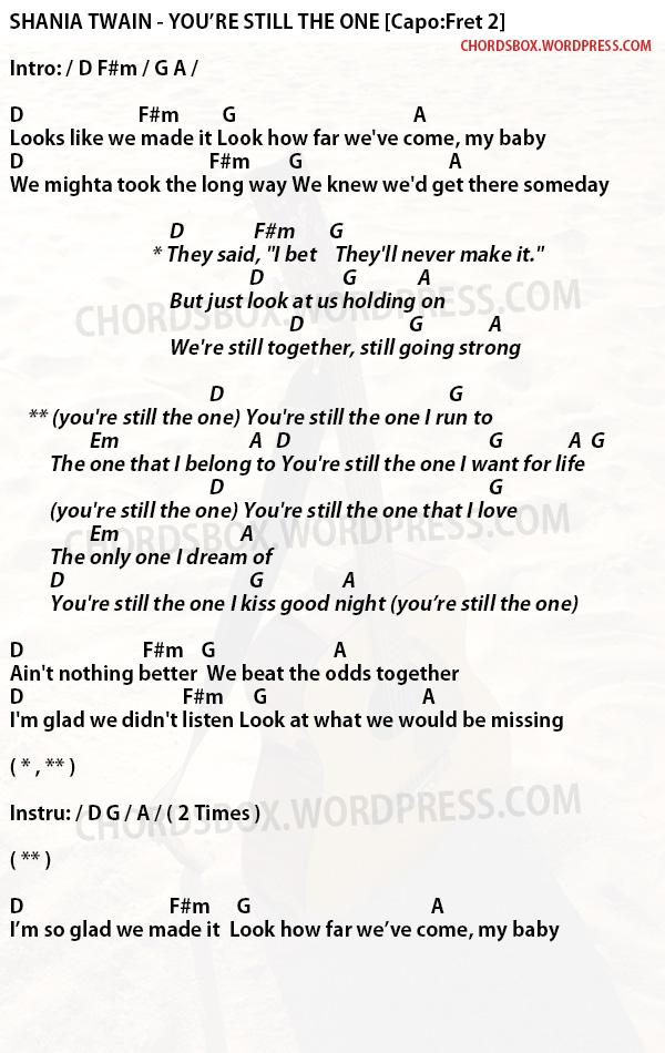 Chord Youre Still The One Shania Twain Chordsbox