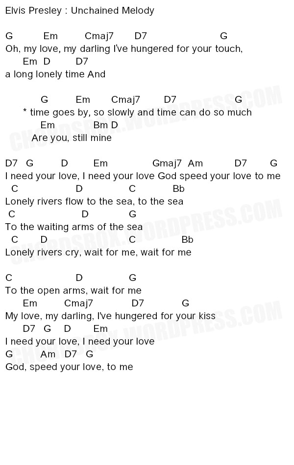 UNCHAINED MELODY – ELVIS PRESLEY – CHORDSBOX